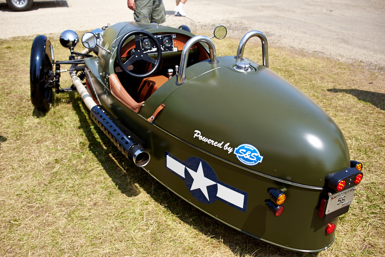 A Morgan Three Wheeler. The engine is made by Wisconsin based S&S Performance.